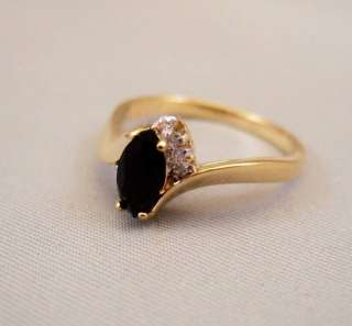14k Gold Plated Black Onyx and CZ Ring