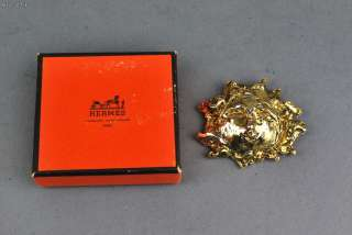Authentic HERMES Gold Color SUN Pin Brooch w/ BOX Rare
