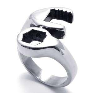 GR173 10 Cool Mens Biker Mechanic Wrench Tool Stainless Steel Ring US