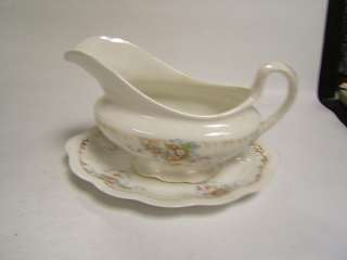 Edwin Knowles Vintage China Gravy Boat w/ underplate