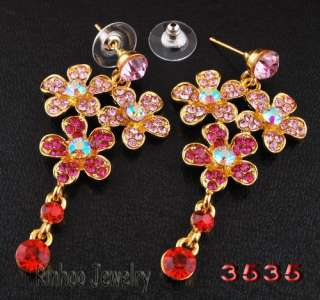 Necklace Earrings Set Sakura Flower AB Bead Golden/Silver Color Czech