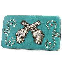 BLUE RHINESTONE STAR GUNS WESTERN PURSE FLAT WALLET