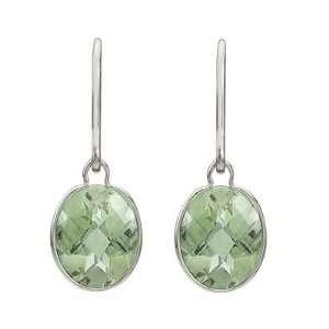 Checker Oval Green Amethyst Wrap Drop Earrings 14K White