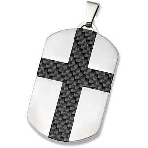Mens Stainless Steel and Black Cross Dog Tag Necklace, 24 Jewelry