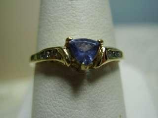 10K Yellow Gold Trillion Shaped Tanzanite/Diamond Ring