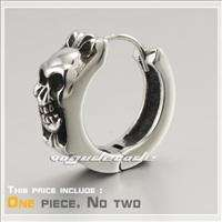 Mens 316L Stainless Steel Skull Hoop Earring 2F002