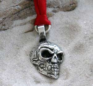 SKULL GOTHIC BIKER Pewter Christmas ORNAMENT Holiday