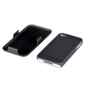 For iPhone 4 4S Black COMBO Belt Clip Holster Hard Case Cover Stand