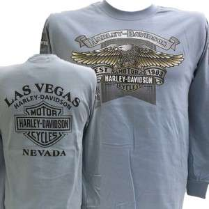 Harley Davidson Las Vegas Dealer Long Sleeve Tee T Shirt BLUE MEDIUM