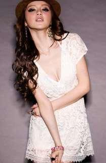 New Fashion Women Deep V neck Lace Short Sleeve Tunic Tops Mini Dress
