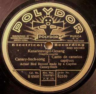 CANARY BIRDS SINGING RECORD Polydor 62539 78 RPM