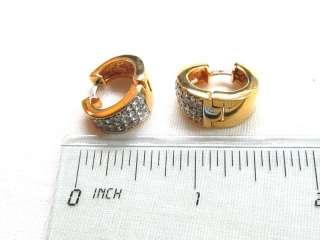 Vtg Sparkly Gold Plated Rhinestone Hoop Huggie EARRINGS