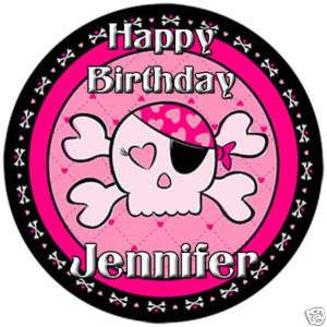 PINK PIRATE GIRL SKULL Edible CAKE Image Icing Topper