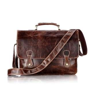 100% Vintage Tan Leather Mens Laptop Bag Briefcase Messenger Hand Bag
