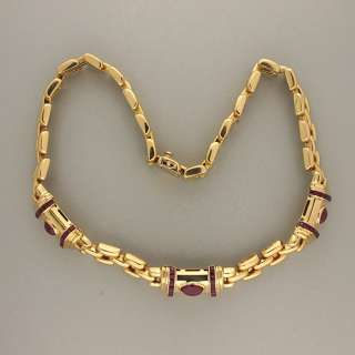 HEAVY 18K YELLOW GOLD ITALIAN THREE ROW PANTHER LINK CABOCHON RUBY