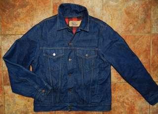 Vtg Plain Pockets denim Jean Jacket Made in USA Mens Size 42