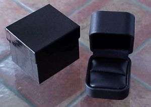 Tall Black LEATHER High End Jewelry RING Box 2pc pkr