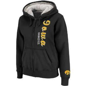 Iowa Hawkeyes Ladies Black Vault Full Zip Sherpa Hoodie Sweatshirt