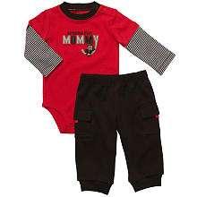 Carters Boys 2 Piece Bodysuit Set   Red Monkey (3 Months)   Carters