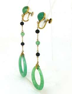 VINTAGE 10K GOLD & HAND CARVED JADE LADIES EARRINGS