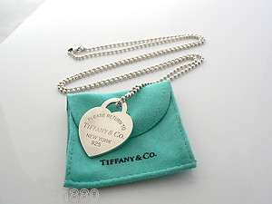 Tiffany & Co Silver Extra Large Heart Dog Tag Charm Necklace Pendant