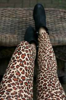 Leopard Animal Print Leggings Beige Black Tight Full Length Jean