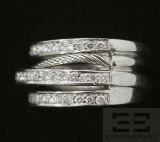 Charriol 18K White Gold Multiband Diamond Ring Size 6.75