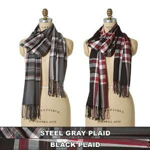 Naturally Knotty Luxurious Wraps,100% Bamboo Fiber, Plaid Steel Grey