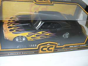COLLECTORS CLUB CC 68 CHEVY CAMARO 1:18 FLAT BLACK ON FIRE PRO STREET