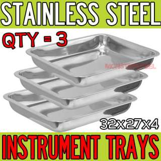 LOT Stainless Steel Tray 12.5 x 10.5 Medical Tattoo Dental Piercing