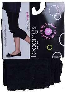 GIRLS BLACK LACE CAPRI STRETCH PANT STYLE LEGGINGS 19