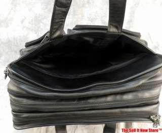 TUMI BLACK LEATHER BAG CASE FILE FOLDER BRIEFCASE ATTACHE LAPTOP