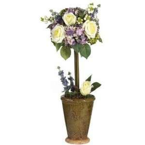 Rose Topiary Silk Flower Arrangement  Home & Kitchen