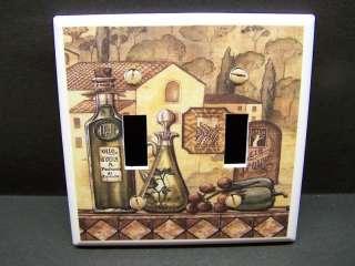 Olive Oil Bottles Tuscan Light Switch Cover DBL V209