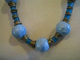 Two toned blue ceramic glass bead brass necklace