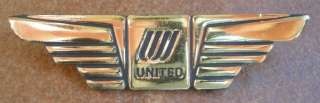 New United Airlines 1980s UAL Pilot Or Flight Attendant Wing Pinback
