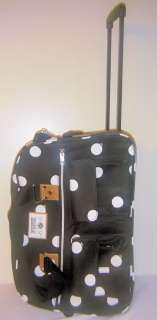 VICTORIAS SECRET PINK BLACK WHITE POLKA DOT ROLLING BAG LUGGAGE