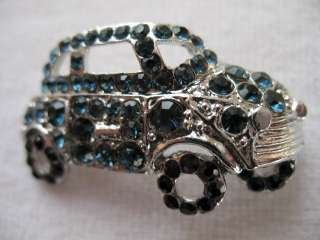 CAR VW BUG Blue CRYSTAL RHINESTONE Jewelry BROOCH PIN