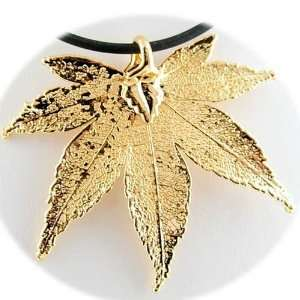 Gold Plated Japanese Maple Real Leaf Rubber Cord Necklace