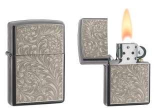 Zippo BS English Scroll   Black Ice   Pocket Lighter #24439
