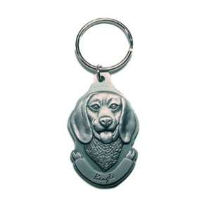 Pewter Beagle Key Chain Ring Made in the USA:  Kitchen