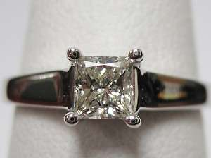 Princess Cut Diamond Ring, 0.53 Carat I J Color, Solid Wide 14k Lucida