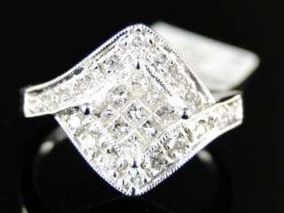 LADIES WOMENS WHITE GOLD PRINCESS CUT DIAMOND XL WEDDING FASHION RING