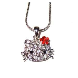 Hello Kitty 3/4 Crystal Pendant and Necklace   Red Flower