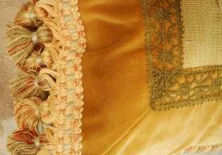 Fruit Design Antique Aubusson Tapestry Pillow   Lumbar Style