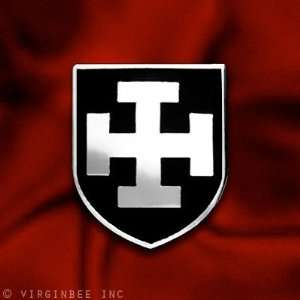 ARMY CRUSADER TEUTONIC KNIGHTS ORDER JERUSALEM CROSS BLACK SHIELD PIN