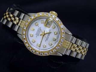 Ladies Two Tone 14k Gold/Ss Rolex Datejust Watch Diamond