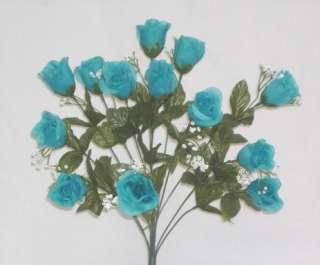 TURQUOISE BLUE Long Stem Silk Rose Buds Wedding Bouquet Flowers NO DEW
