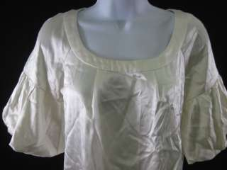 LACEY PARKER Cream Silk Short Sleeve Blouse Shirt Sz XS