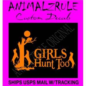 GIRL COON HUNTING LARGE DECAL 12x20 BRIGHT ORANGE